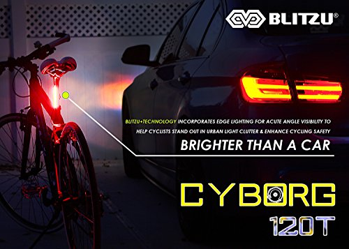 BLITZU Cyborg 120T USB Rechargeable LED Bike Tail Light. Bright Bicycle Rear Cycling Safety Flashlight, Fits Road, Mountain Bikes, Helmets. Get The Front Headlight and Back Set for Kids Men and Women by BLITZU (Image #2)