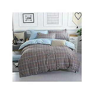 Bed SET 4pcs Bedding Duvet Cover No Comforter Flat Sheet Pillowcases BL Twin Full Queen Set Cartoon Love Cat Season Cloud Design for Kids Adults Teens Sheet Sets (Small Love Cat, Grey, Queen, 78'x90')