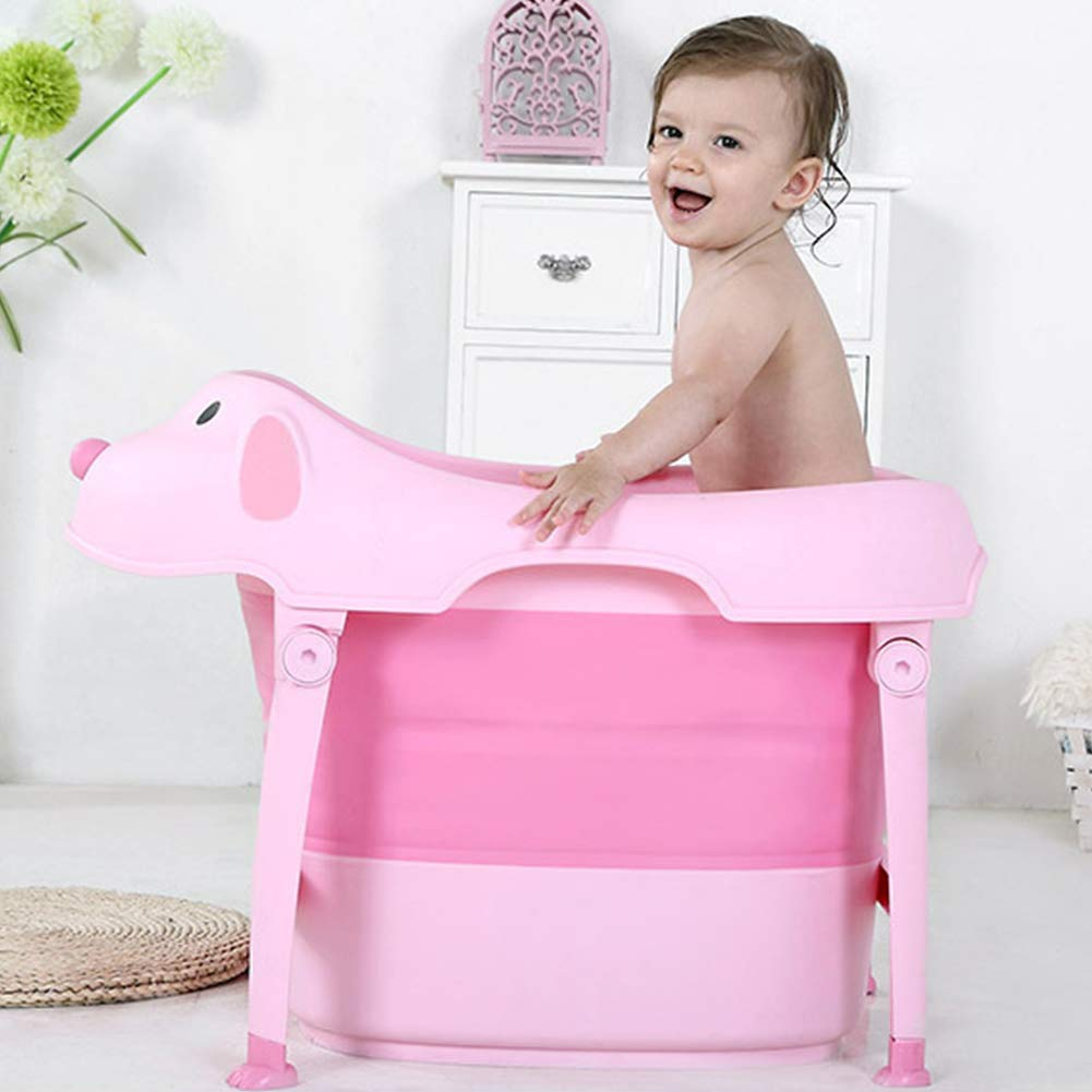 Children Safe Portable Foldable Bathtub, 29x21inch - Baby Bath Tub Kids Bath Tub Can Sit Lying Bath Tub for 6 Months to 10 Years Old Children (Pink) by Finebaby (Image #1)