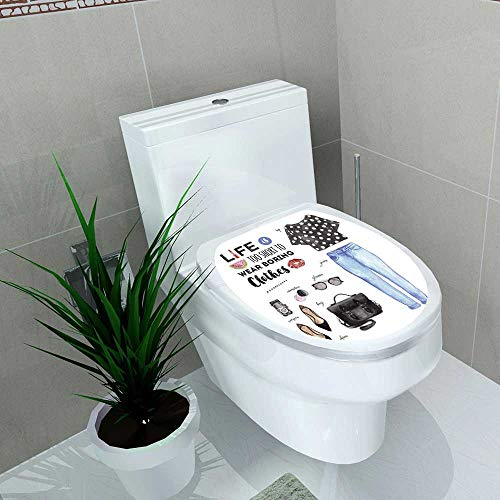 Auraise-home Toilet Seat Wall Stickers Paper Watercolor Fashion Casual Outfit Life is Too Short to wear Boring Clothes Quote Decals DIY Decoration W13 x L18 -