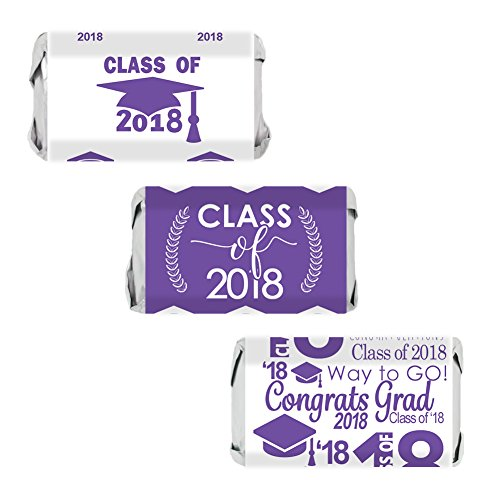 Class of 2018 Graduation Miniatures Candy Bar Wrapper Stickers, Set of 54 (Purple) -