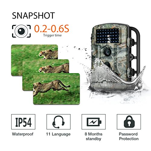 Enkeeo PH730S Trail Game Camera 1080P 12MP HD Wildlife Hunting Cam 65ft Infrared Night Vision with 02s Trigger Time IP54 Water Resistant 24 LCD Screen and Time Lapse Game Trail Cameras