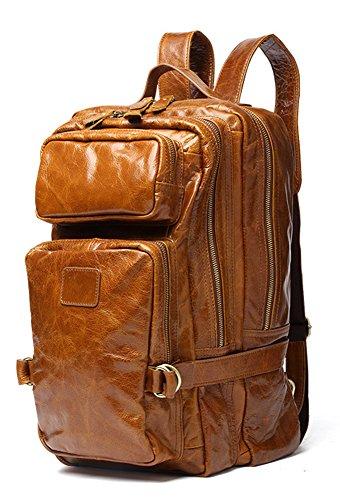 Dr. Anison Vintage Genuine Leather Laptop Briefcase for Men (Brown 8856, 16