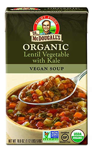 Dr. McDougall's Right Foods Organic Lentil Vegetable Soup with Kale, 18 oz. (Pack of 6) (Kale Soup)