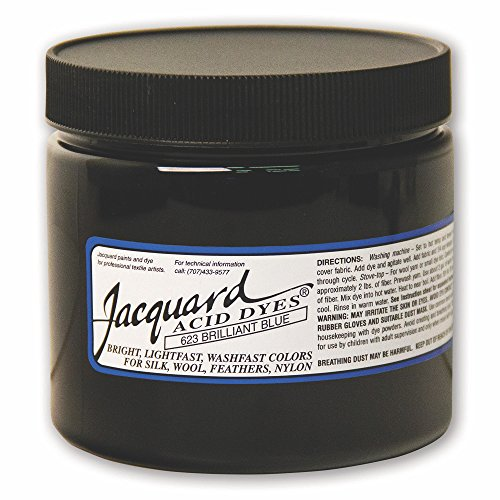 Jacquard Acid Dye for Wool, Silk and Other Protein Fibers, 8 Ounce Jar, Concentrated Powder, Brilliant Blue 623 by Jacquard