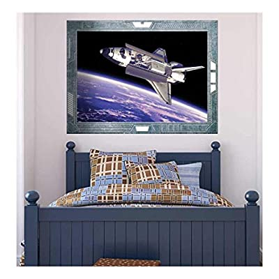 Science Fiction ViewPort Decal A View of the Space Shuttle Flying Wall Mural, With Expert Quality, Wonderful Portrait