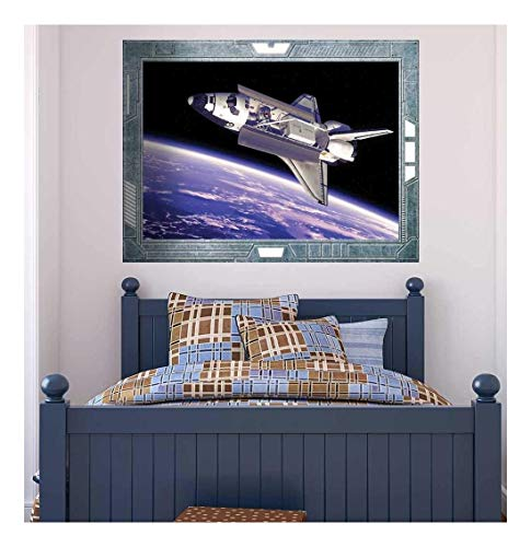 Wall26 - Science Fiction ViewPort - Decal - A View of the Space Shuttle Flying - Wall Mural, Removable Sticker, Home Decor - 36x48 inches ()