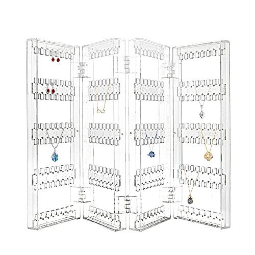 Foldable Acrylic Necklace Chain Earring Screen Stand Holder Organizer (4-Panel Flat Top)