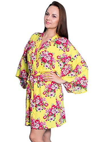 Taniri Cotton Floral Kimono Robes for Bride and Bridesmaids Wedding Party Gifts Yellow