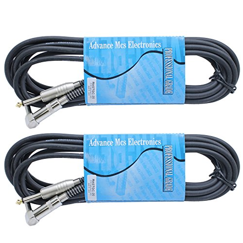 MCSproaudio 2 Pack 20ft Guitar Cable 1/4 Metal Connectors Right Angle to Straight by MCSproaudio