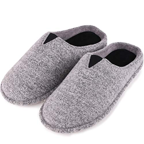 EverFoams Women's Jersey Knit Memory Foam Slippers Terry Cloth House Shoes with Stretchable Band (11-12 M US, Light Gray)