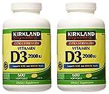 Kirkland Signature EIURYU Maximum Strength Vitamin D3 2000 I.U. 600 Softgels, Bottle Personal Healthcare/Health Care 2 Pack