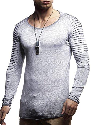 LEIF NELSON Herren Pullover Rundhals-Ausschnitt Slim Fit | Moderner Männer Pulli Sweatshirt Langarm Crew Neck | Herren Hoodie-T-Shirt Langarm in schwarz | LN8170 Grau Verwaschen Large