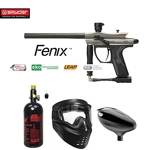 MAddog Kingman Spyder Fenix Beginner HPA Paintball Gun Package - Silver/Grey ()