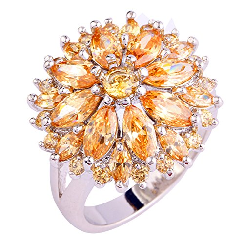 Emsione 925 Sterling Silver Plated Created Flower Morganite Multi-Stone Party Club Fashion Ring Size 7-12