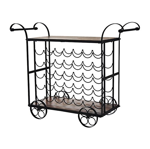 35 Bottles Antique Rolling Kitchen Serving Cart Rolling Wine Rack Kitchen Island Utility Dining Portable Drink Holder Industrial Style Designed For Storing And Serving Wooden Tabletop Metal Frame (Wicker Outdoor Furniture Clearance Brisbane)