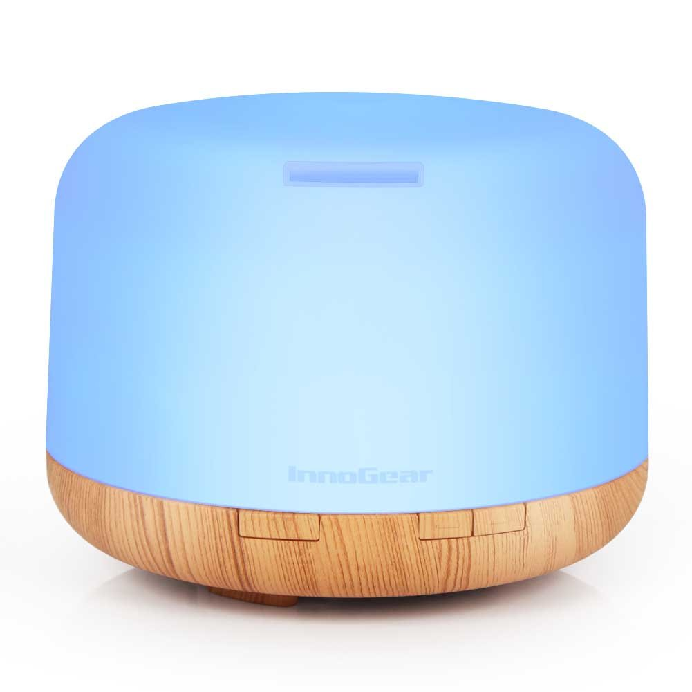 InnoGear 500ml Aromatherapy Essential Oil Diffuser Cool Mist Humidifier Waterless Auto Shut-off with 4 Timers and 7 LED Color Changing Lights (Yellow) by InnoGear