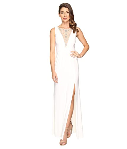 Adrianna Papell Womens Jersey Halter Gown w/ Illusion