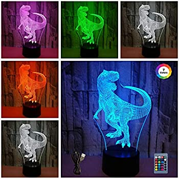 Dinosaur 3D led Illusion lamp,Night Lights for 7 LED Colors Changing Lighting, Touch USB Charge Table Desk Bedroom Decoration,Decorative Lighting Gifts for Boys Girls Kids Baby Friends