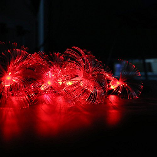 New Fiber Optic Christmas Tree - HuntGold 2.5M 10 LED Fiber Optic String Light Fairy Lamp Battery Operated(2 x AA) Ideal for Home Kitchen Office Decor Party Decoration Christmas Tree Hanging Light Red