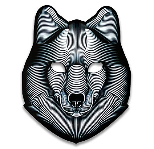 Official Animal (Wolf) Sound Reactive LED Mask by Outline Montréal Perfect for Halloween, Cosplay Events and Music Festivals - A Wearable Lightshow (Wolf) ()