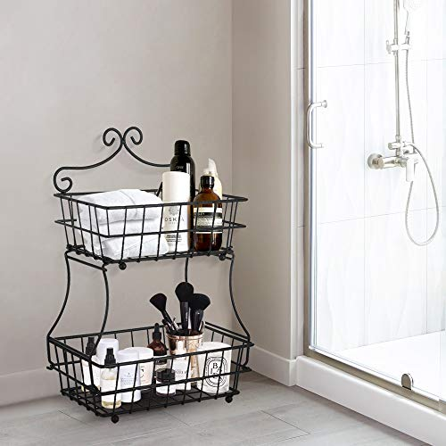 Oakome 2 Tier Fruit Baskets - Metal Bread Basket Stand with Free Screws for Fruit, Vegetables, Snacks, Home Kitchen and Office by oakome (Image #8)