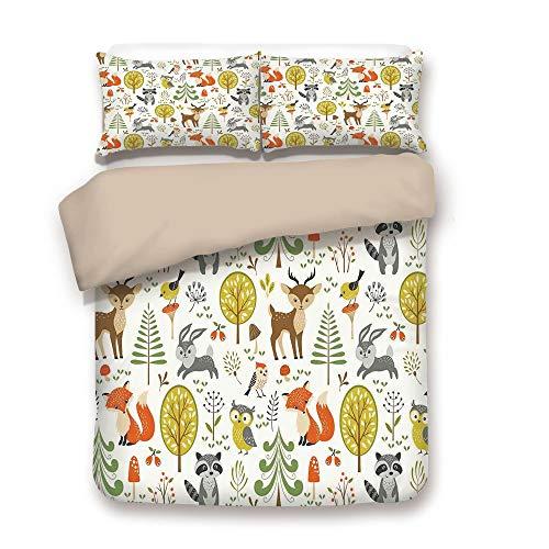 iPrint Duvet Cover Set,Back of Khaki,Kids,Woodland Forest Animals Trees Birds Owls Fox Bunny Deer Raccoon Mushroom Home and,Decorative 3 Pcs Bedding Set by 2 Pillow Shams,Full