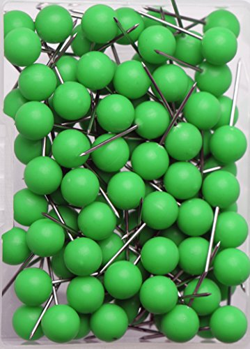 (AnMiao Star 100pcs Map Tacks Push Pins 1/4 Inch Diameter Plastic Round Head and Steel Needle Points,Used for Marking Variety DIY Craft Office and Home on Map,Bulletin Board or Cork boards(Green))
