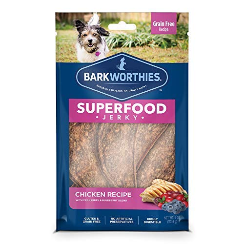 - Barkworthies All-Natural Superfood Dog Treats - Chicken with Cranberry & Blueberry Jerky Dog Treats (4 oz.) - Easily Digestible & Low-Fat Dog Chews