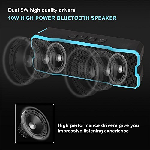 Waterproof Bluetooth Speaker,POWERIVER Portable 4.1 Bluetooth Computer Outdoor Speakers with MP3 Player 15W IPX65 for iPhone iPad and Pod (Blue)