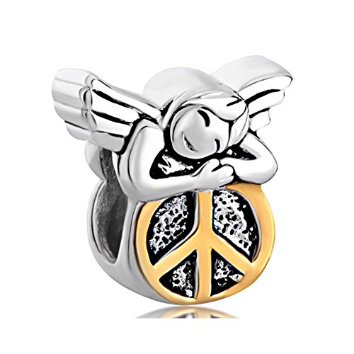 Q&Locket 925 Sterling Silver Love Peace Angel Charm For Bracelet