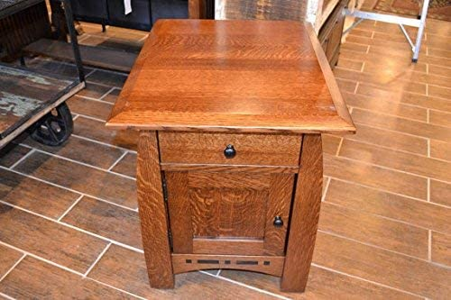 Crafters and Weavers Mission Quarter Sawn Inlaid Oak End Tables or NightStand
