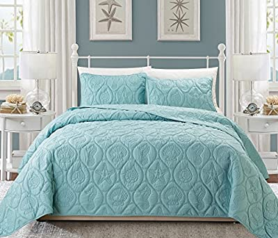 3 Piece Baby Blue Embossed Seashell Theme Bedspread Queen Set, Beautiful Classic Coastal Seahorse Bedding, Hexagon Textured Summer Vacation Ocean Beach Sea Shell Shore Star Fish Theme Pattern