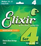 Elixir Strings Nickel Plated Steel 4-String Bass Strings w NANOWEB Coating, Long Scale, Medium (.050-.105)