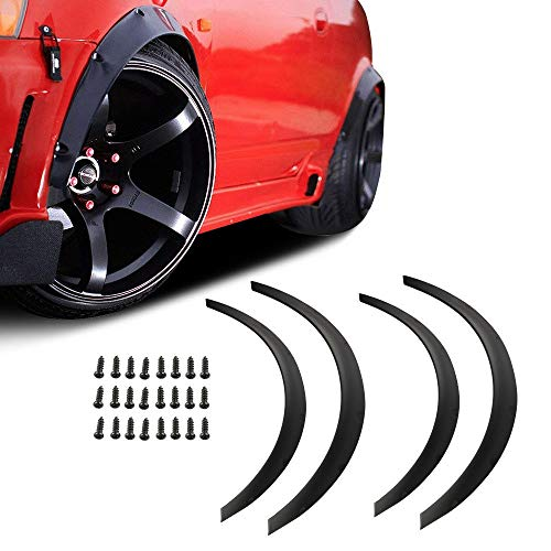 MOSTPLUS Universal Front & Rear Fender Flares Flexible Durable Polyurethane w/Bolts for Car Body 2 Sets of 2.75inch (70mm)+2 Sets of 2inch (50mm)