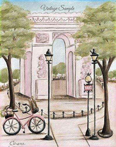 Arc de Triomphe, Shabby Chic, Vintage Paris Girl's Wall art, French Paris Nursery, Personalized Fine Art, 6 (Arc De Triomphe Framed Art)