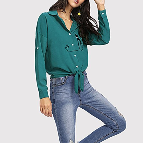 Maglie a Maglia Manica Tops da Camicie Shirt Svasata T da Donna Elegante B Manica Luoluoluo Alto Scollo Camicia Elegante Camicetta Maglietta Donna Lunga Lunga Sexy Bottoni V a Donna Collo wInUR
