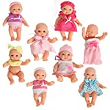 Set Of 8 Assorted Mini Dolls 5 Inches Tall