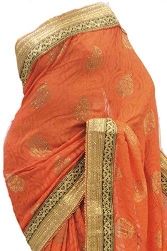 RUBS2784 exquisito coral y verde de la fiesta de la sari Indian Designer Party Saree Coral