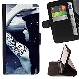 DEVIL CASE - FOR Sony Xperia Z1 L39 - Cool Awsome Tattoo Girl - Style PU Leather Case Wallet Flip Stand Flap Closure Cover