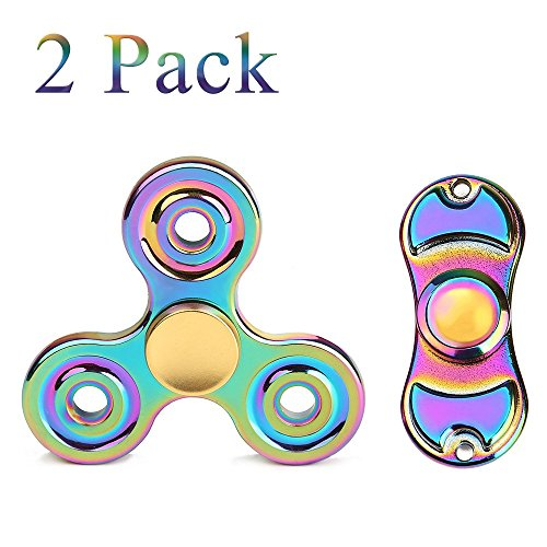 2 Side Metal (Metal Fidget Spinner 2 Pack Stress Relief Reducer Spin ADHD Anxity Toys for Adults Children Autism Fidgets Best EDC Hand Spinners Bearing Finger Toy Focus Fidgeting Restless Tri-spinner SCIONE)