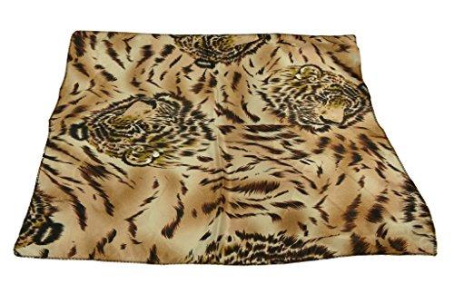 DGFA INC All Seasons Ladies Small Square Scarf Head Wrap (Cute Tiger Pattern Print)