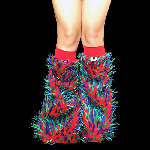 Dragon Red, Green, and Blue Psychedelic Furry Legwarmers Fluffies
