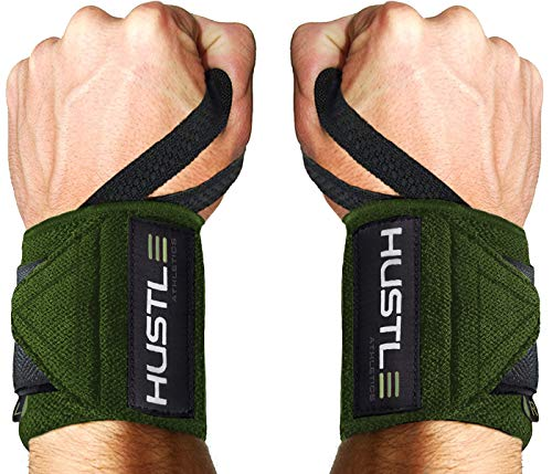 Hustle Athletics Wrist Wraps Weightlifting - Best Support for Gym  Crossfit - Brace Your Wrists to Push Heavier, Avoid Injury  Improve Your Workout Instantly - for Men  Women (Military Green, 12