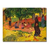 This ready to hang, gallery wrapped art piece features a group of girls sitting under a tree. Paul Gauguin was a leading Post-Impressionist painter. His bold experimentation with coloring led directly to the Synthetist style of modern art while his e...