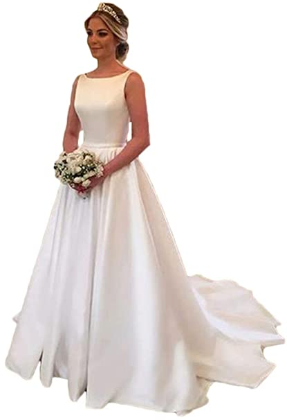 Simple 2019 Wedding Dresses Satin Scoop Neckline Modest