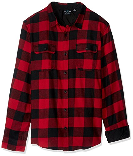 - Burnside Men's Vector Buffalo Long Sleeve Button Down Solid Flannel Shirt, Red, X-Large