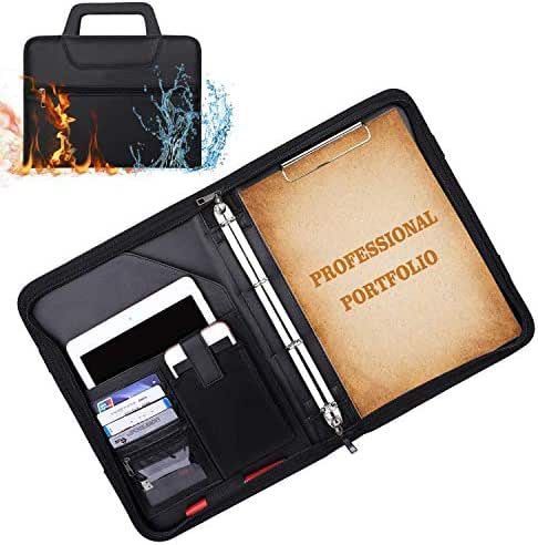 ENGPOW Padfolio Portfolio Binder Fireproof Business File Folder with Zippered Pockets Fire and Water Resistant Executive Writing Pad,Personal Document Organizer Folder,Planners, Briefcase