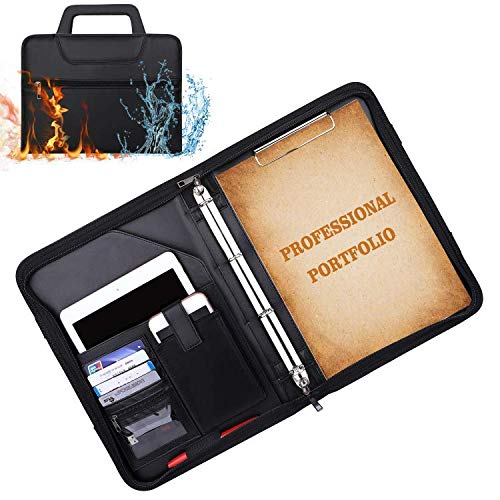Padfolio Portfolio Binder Fireproof Business File Folder with Zippered Pockets Fire and Water Resistant Executive Writing Pad,Personal Document Organizer Folder,Planners, Briefcase for Travel and Inte