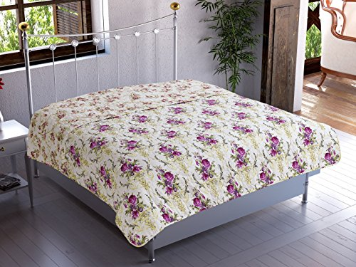 Chiara Rose Microfiber Reversible 1-Piece Multipurpose Quilted Throw Blanket Twin, Bouquet